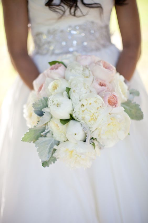 Lovely Bouquet Of White Peonies, Patience Cream Garden Roses, Juliet Pale  Peach Garden Roses