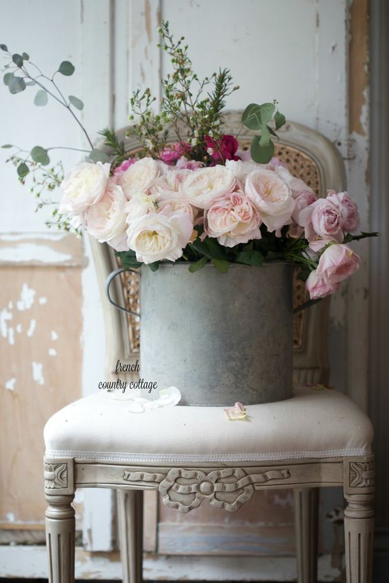 A bucket of blooms.