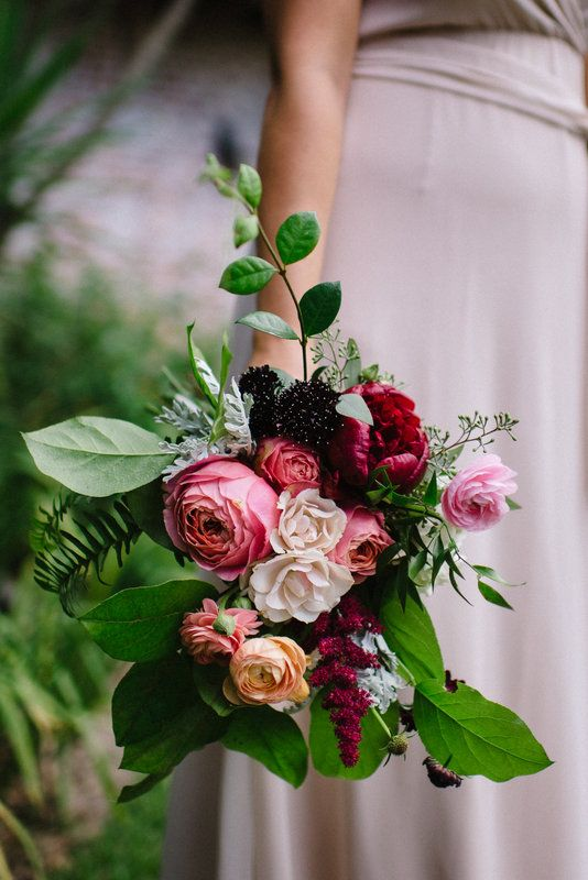 Loosely tied and wild summer bridesmaid bouquet with Romantic Antike garden roses!