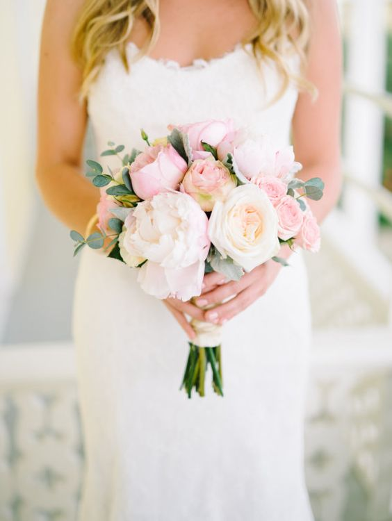 Light pink wedding bouquet with softly colored David Austin Constance roses.