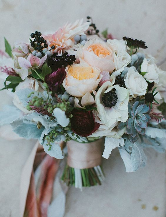 Anemones and Juliet roses for a fun and elegant wedding.