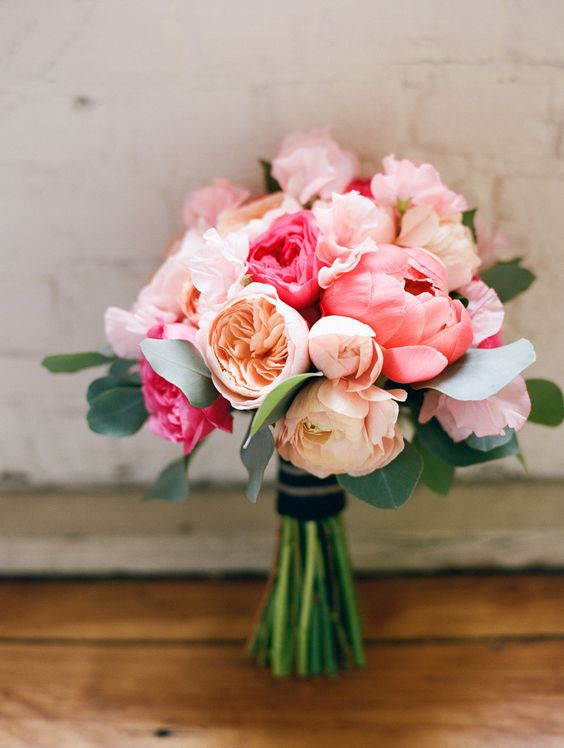 Romantic pink wedding bouquet with coral peonies. Gorgeous!