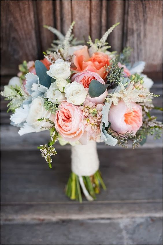 This lovely bouquet with Juliet roses would be perfect for a beach wedding.