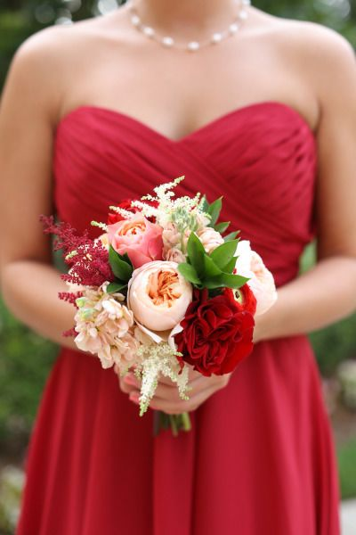 Bold blooms with Juliet roses, Edith roses and astilbe. Colorful choice for a bridesmaid's bouquet.