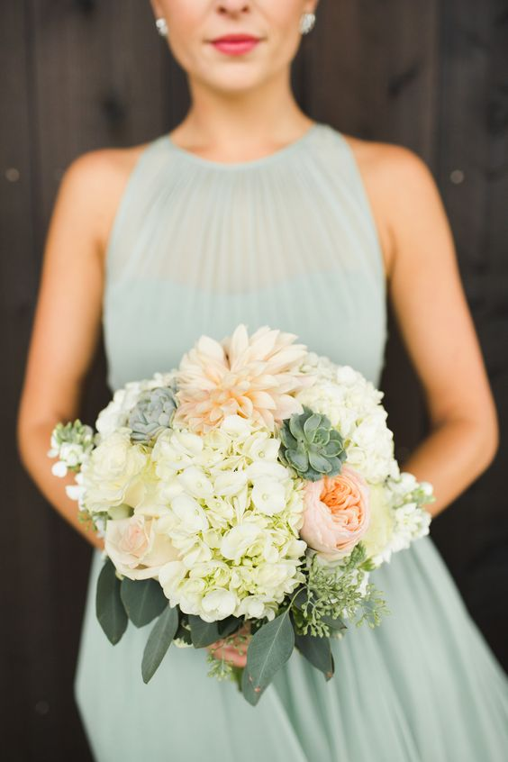 Café au lait dahlia, hydrangea, David Austin roses, stock, succulents and seeded eucalyptus. Doesn't it match perfectly with that mint grey dress?