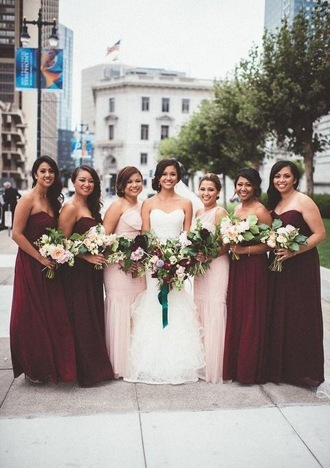 A stunning burgundy/blush city wedding
