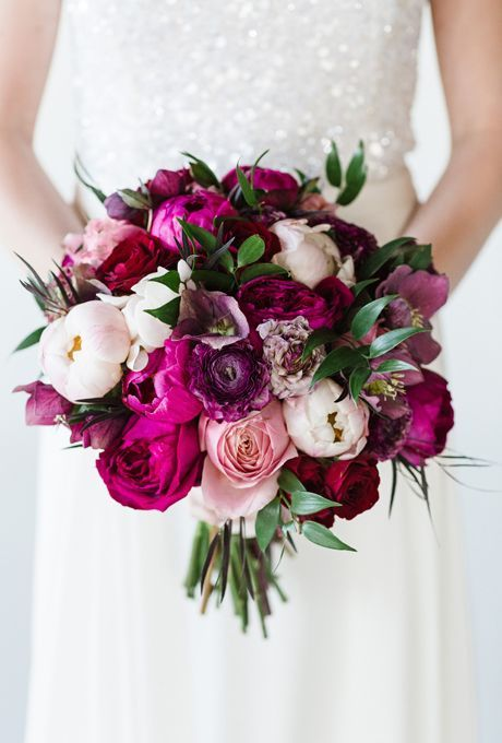 Another popular color for this fall is purple! What about purple peonies and a few 'Belles Rives' and 'Romantic Antike' roses?