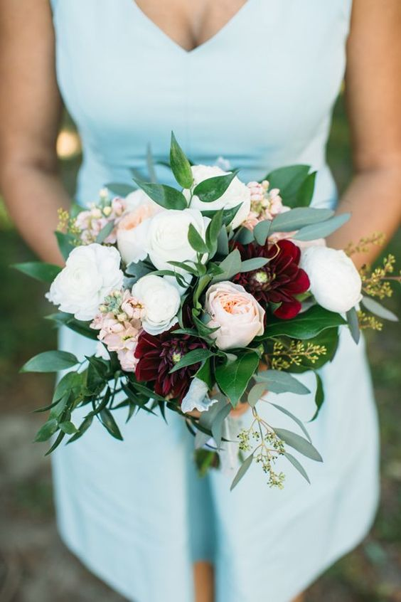 This burgundy/blush fall bouquet with 'Juliet' roses is the perfect size for a bridesmaid.