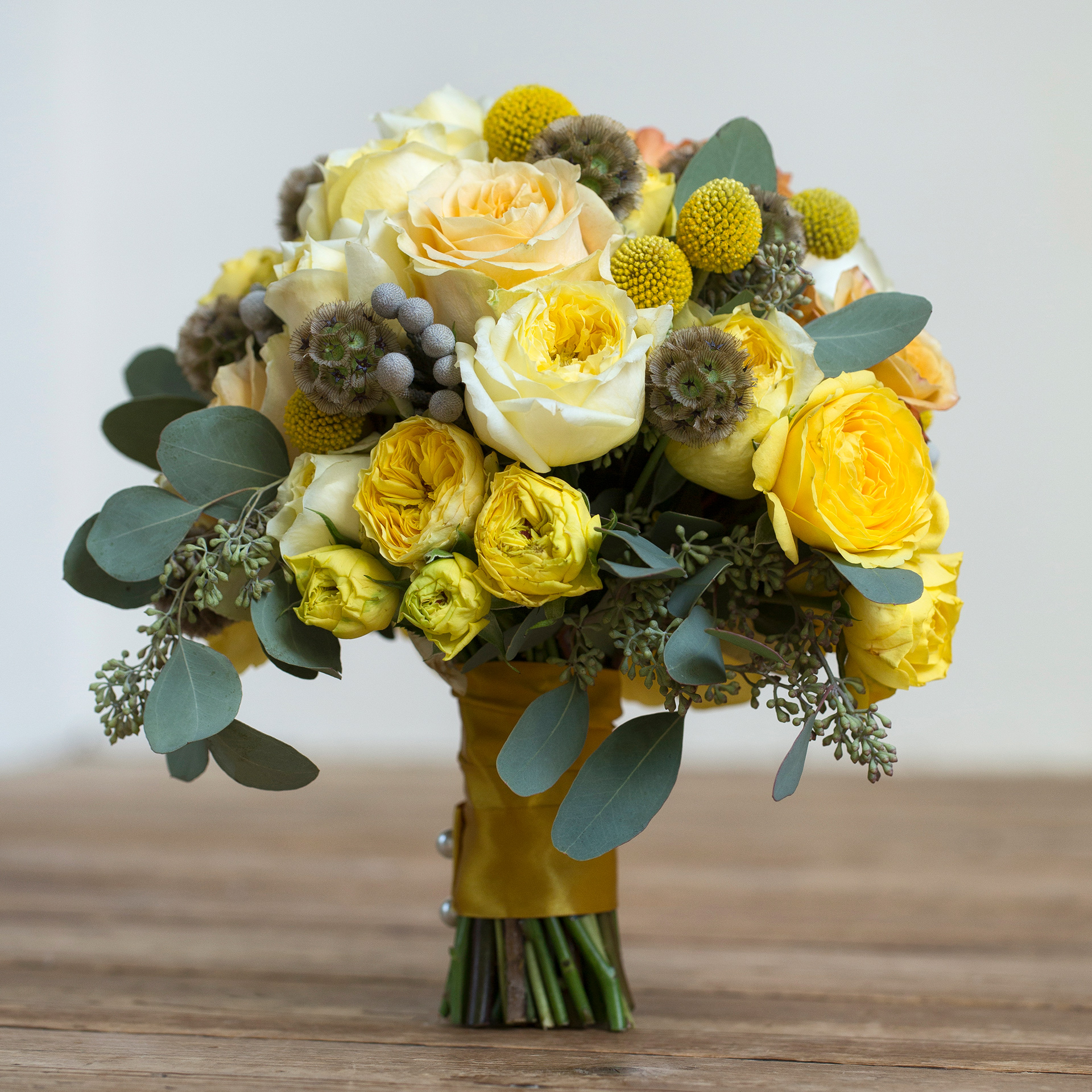 Lovely bouquet featuring Toulouse Lautrec roses.