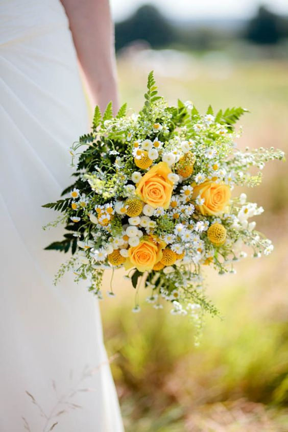 Summer bouquet with yellow roses. Via Love My Dress