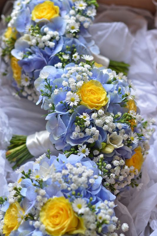Country style wedding with baby blue and yellow roses. Via Fiori by Lynne