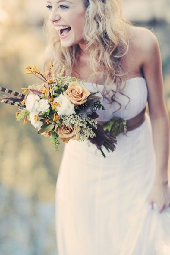 Sweet and wild wedding bouquet that could be perfect for fall as well. Via The Perfect Wedding