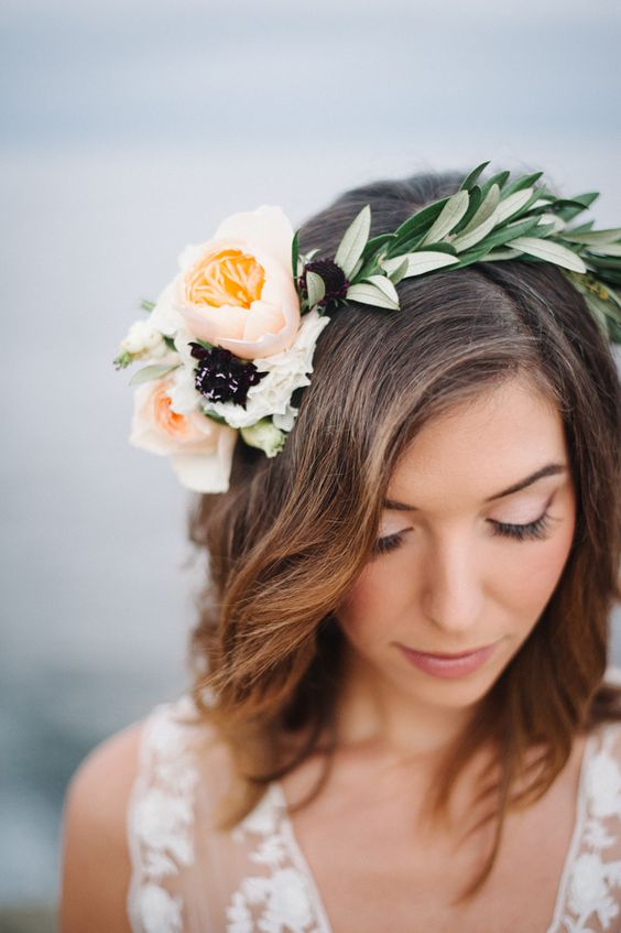 Olive flower crown with stunning peach Juliet roses. Via Hey Wedding Lady