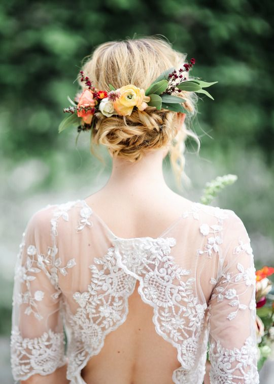 Stunning bridal flower wreath