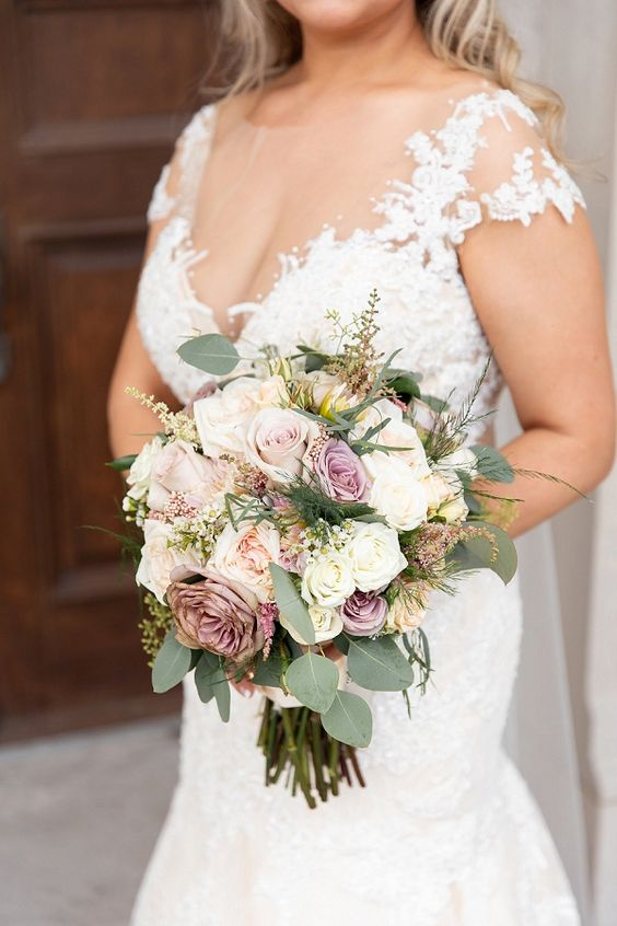 Pastel and purple wedding bouquet. Via Tidewater and Tulle