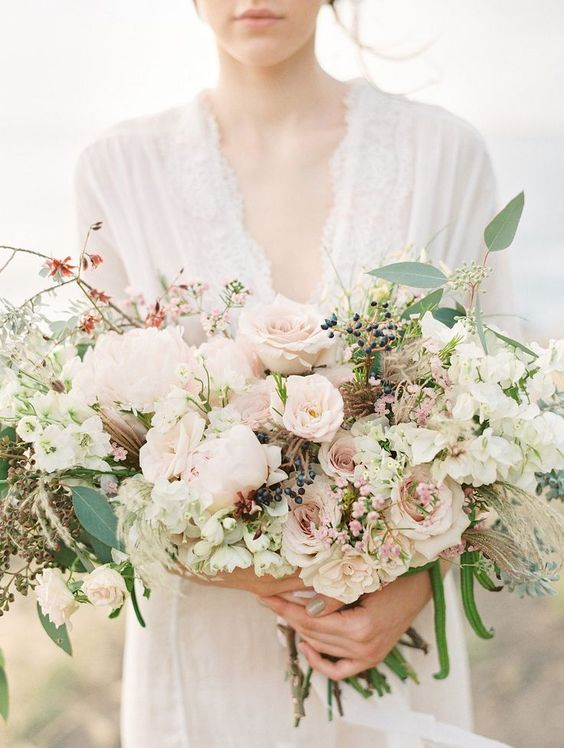 Soft hand-picked wedding bouquet. Via Wedding Sparrow