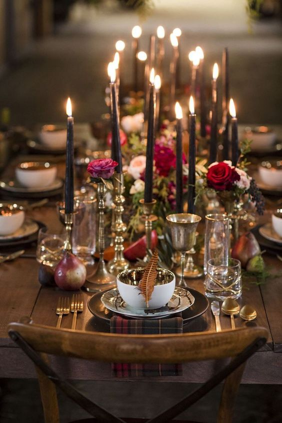 Candles and garden roses for an intimate fall or winter setting.