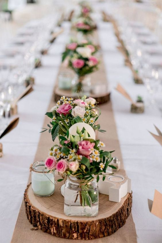 Rustic, easy to arrange, wedding table setting with pink spray roses. Via Wedding Promises