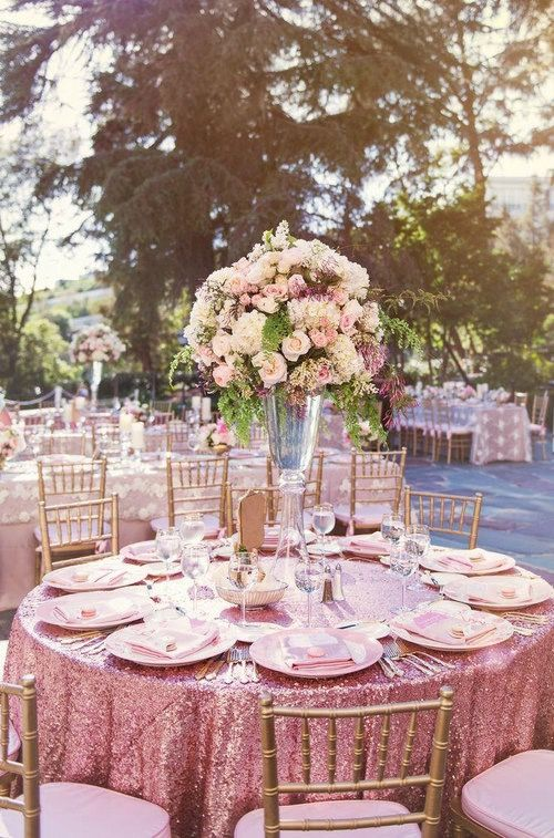 Sparkly pink with impressive centerpieces.
